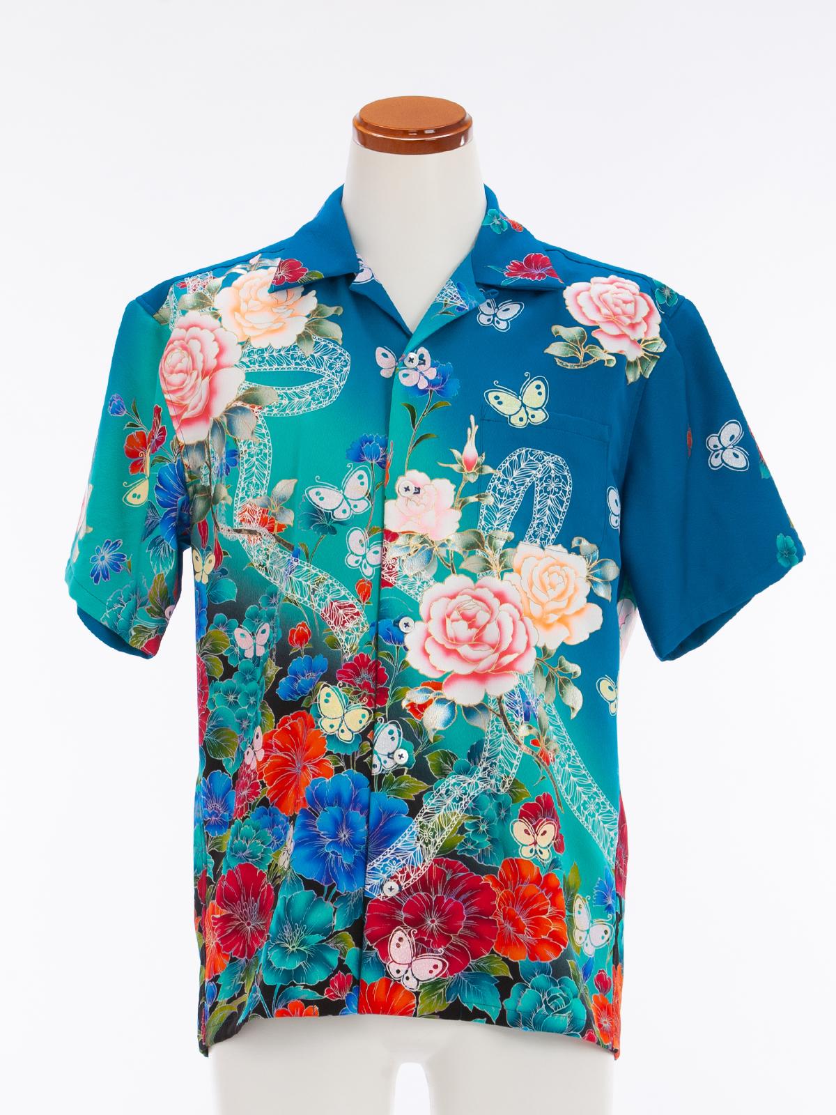 着物アロハシャツ「薔薇に舞う蝶」AH100047