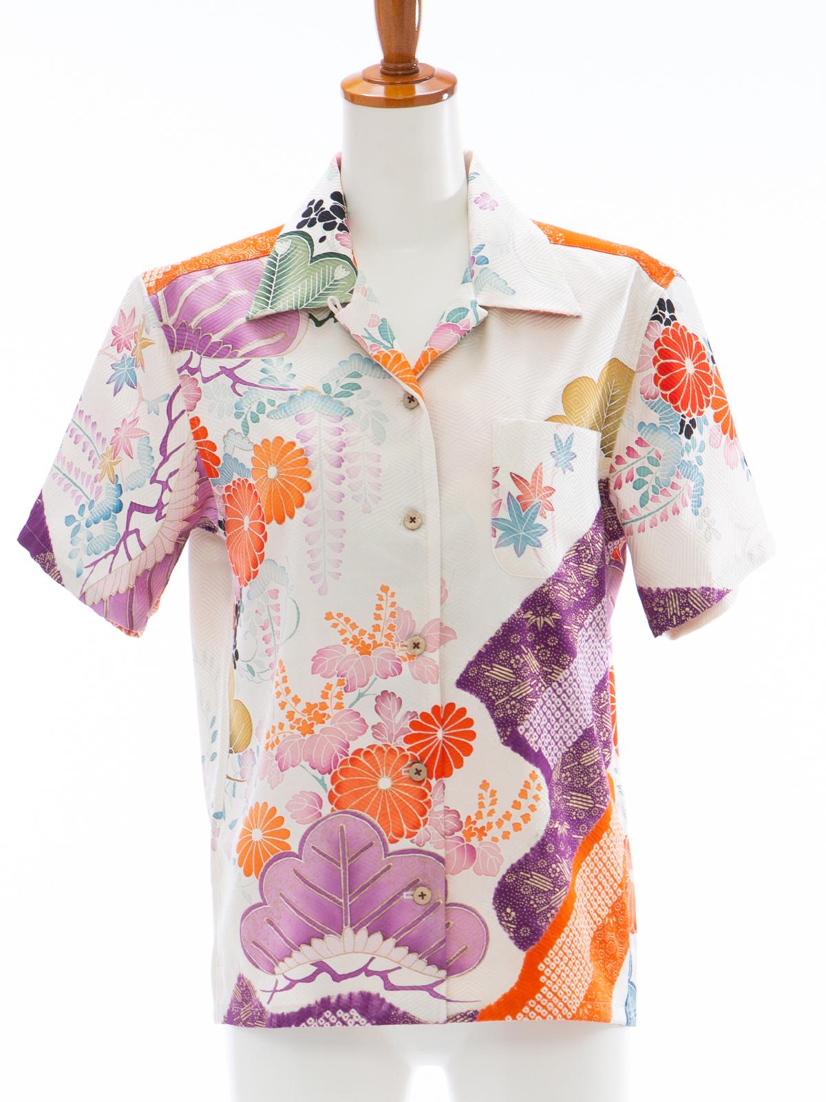 着物アロハシャツ レディース「四季を纏ってL」AH10004L