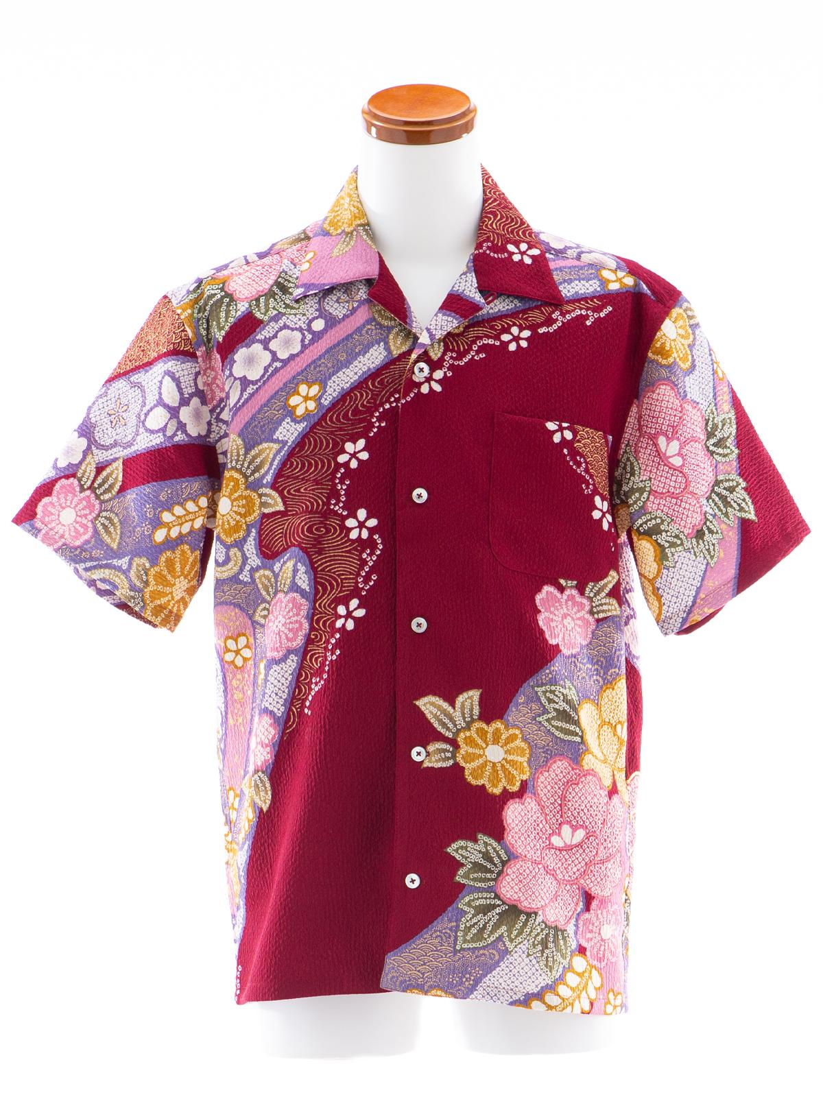 着物アロハシャツ「ワインレッド牡丹」AH100052