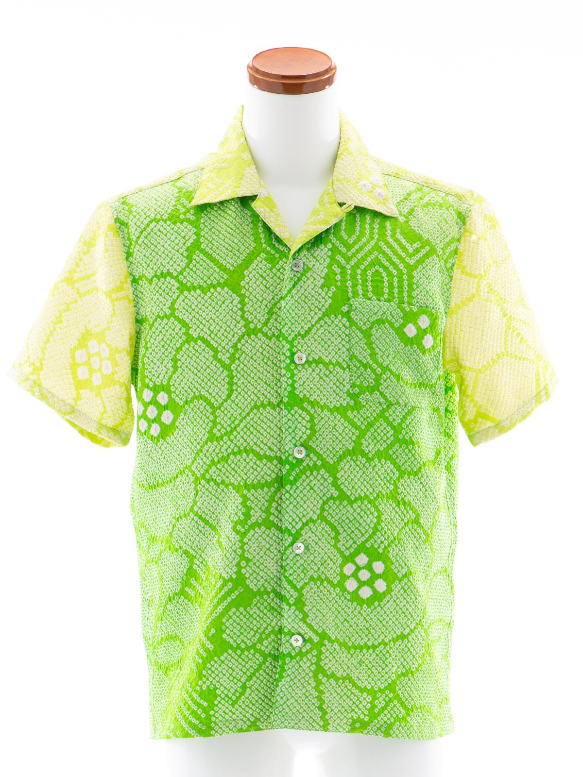 着物アロハシャツ「新緑の絞りB」AH100054