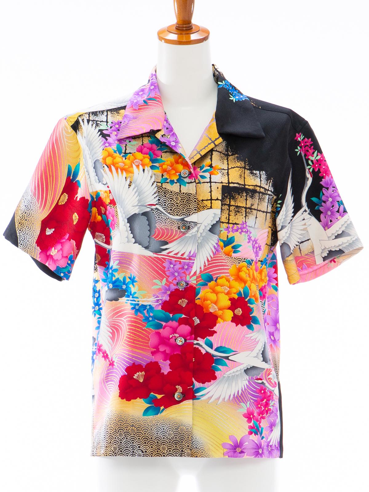 着物アロハシャツ レディース「真夏の夜の虹L」AH10005L
