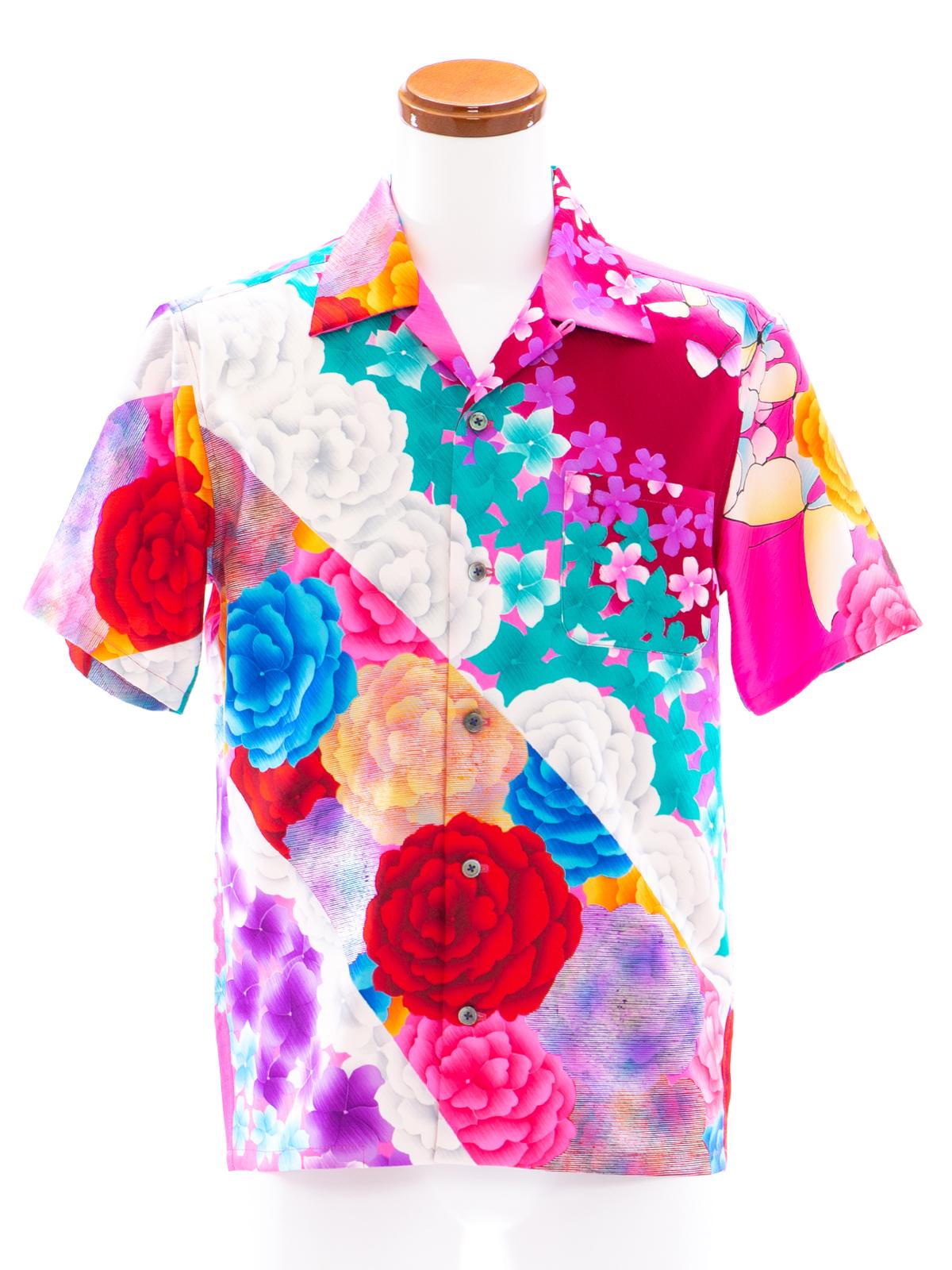 着物アロハシャツ「薔薇色の人生」AH100068