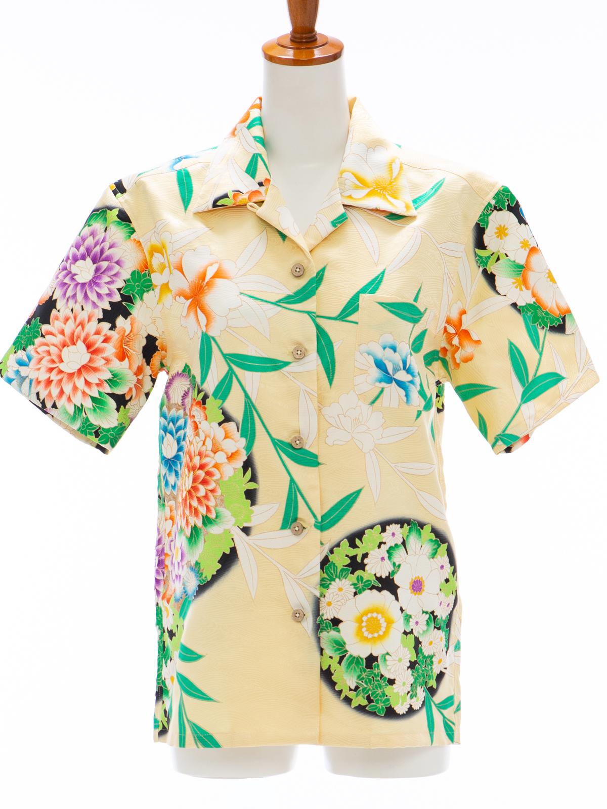 着物アロハシャツ レディース「お花を敷き詰めてL」AH10006L
