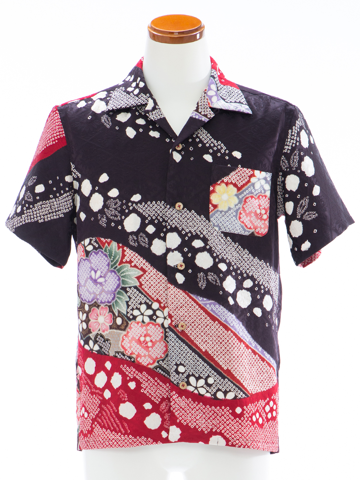 着物アロハシャツ「花絞りの流れA」AH100074