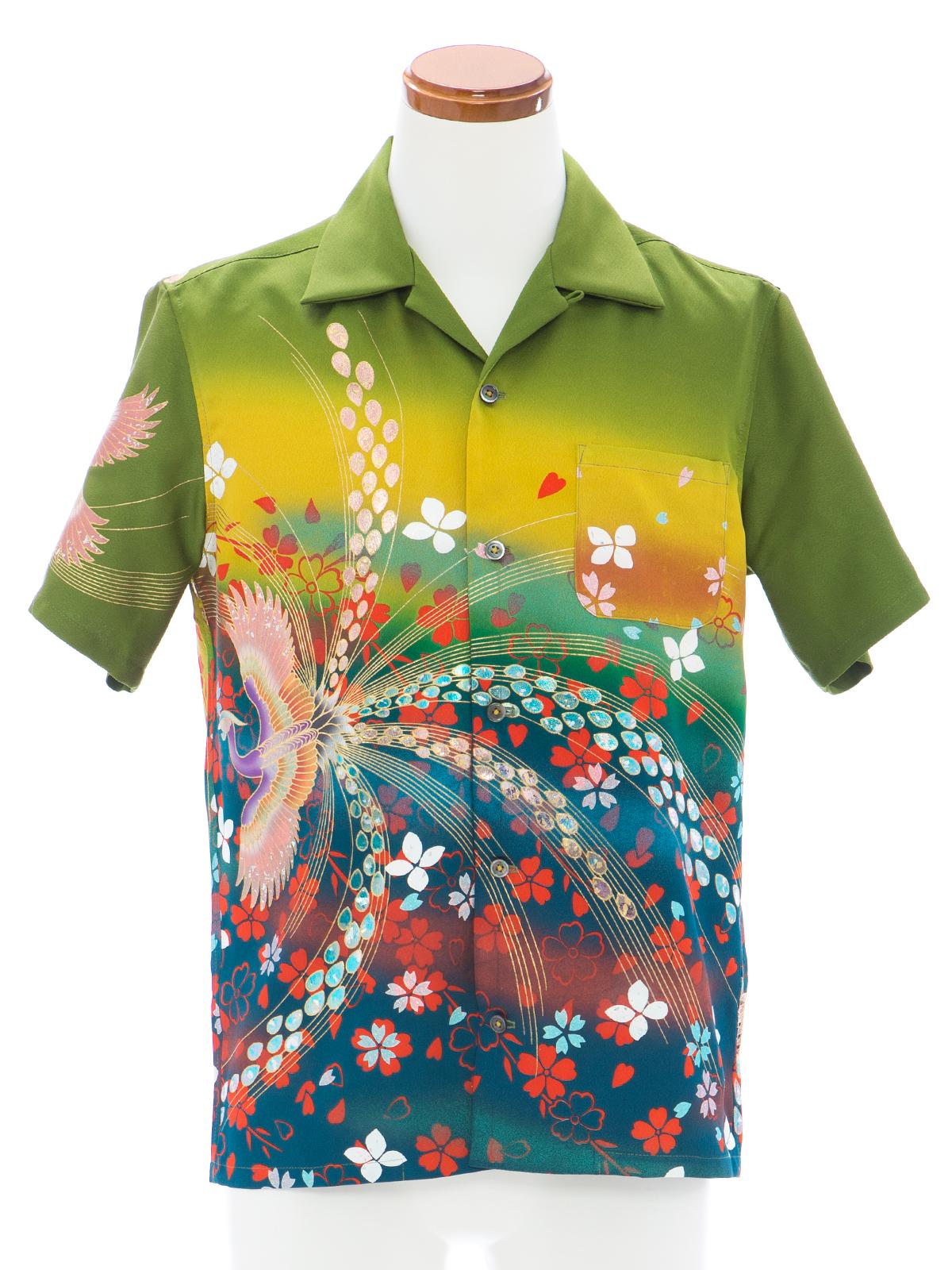 着物アロハシャツ「花吹雪き鳳凰A」AH100076