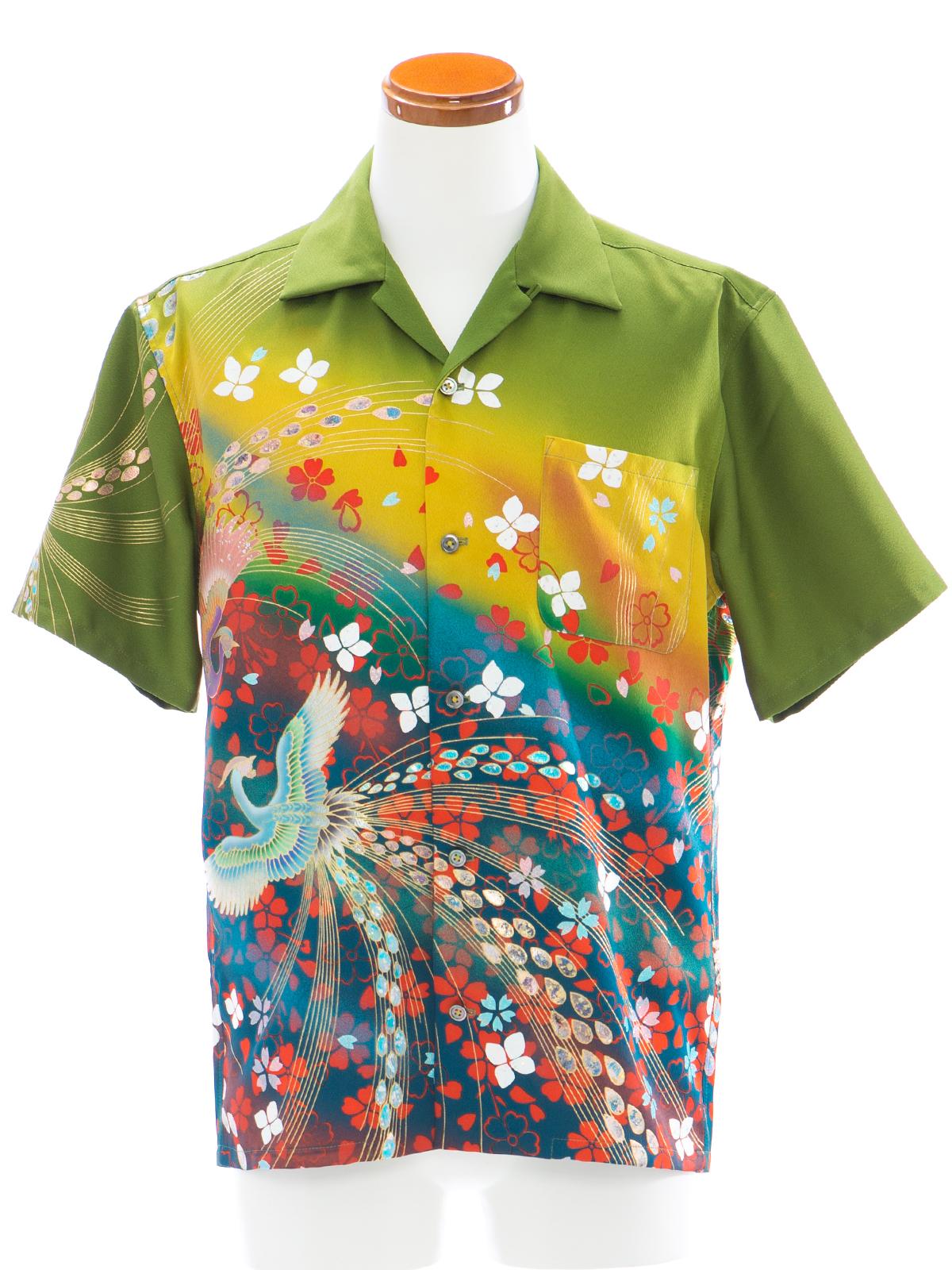 着物アロハシャツ「花吹雪き鳳凰B」AH100077