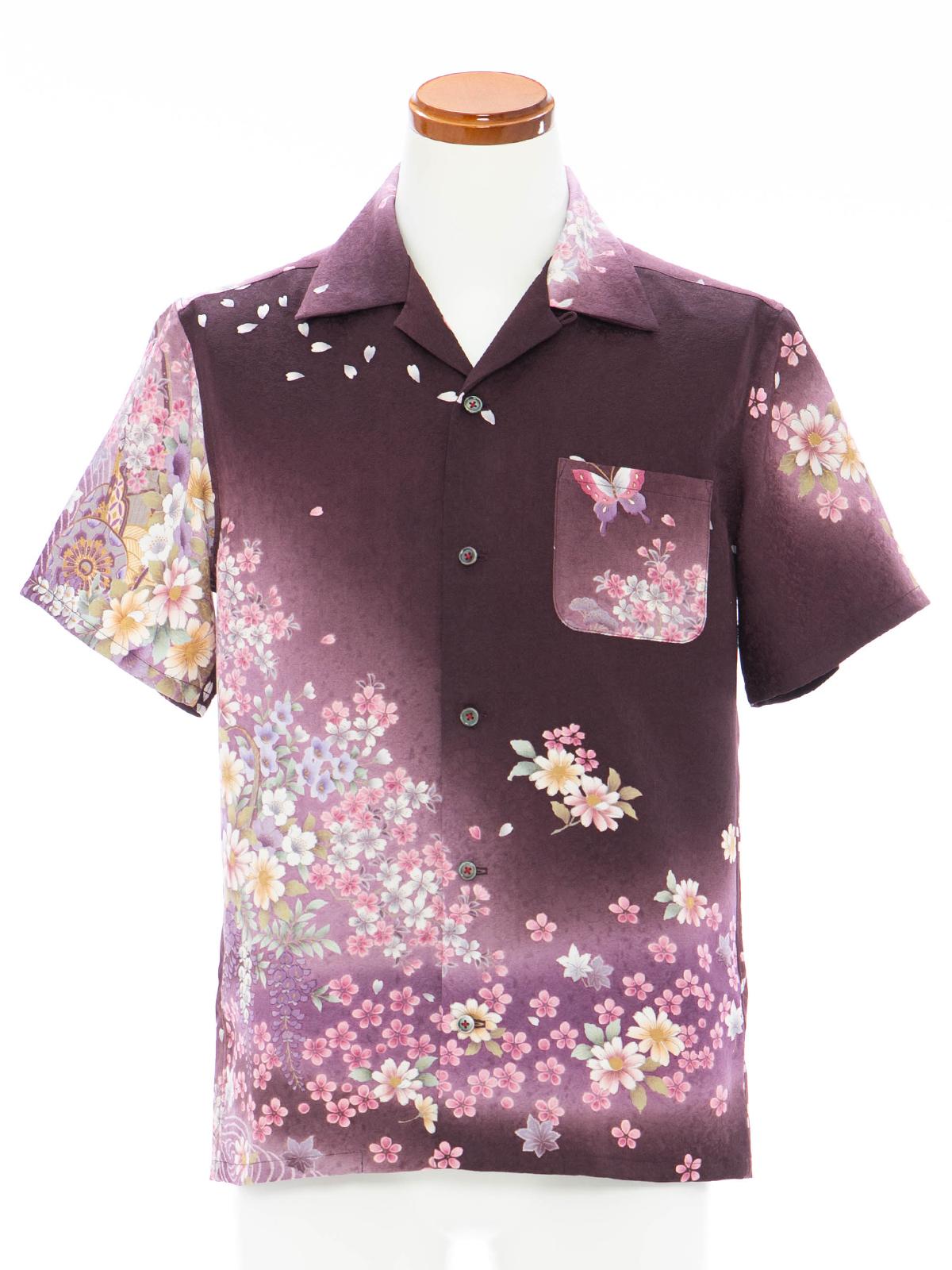 着物アロハシャツ「夜桜を見上げてA」AH100079