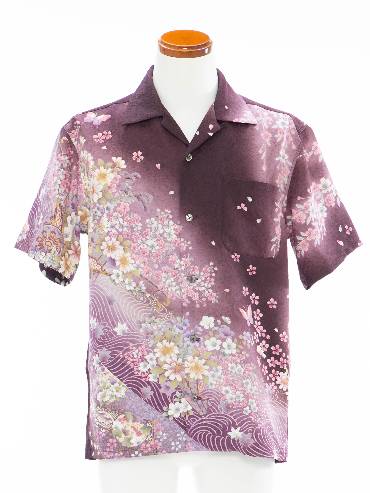 着物アロハシャツシャツ「夜桜を見上げてB」AH100080