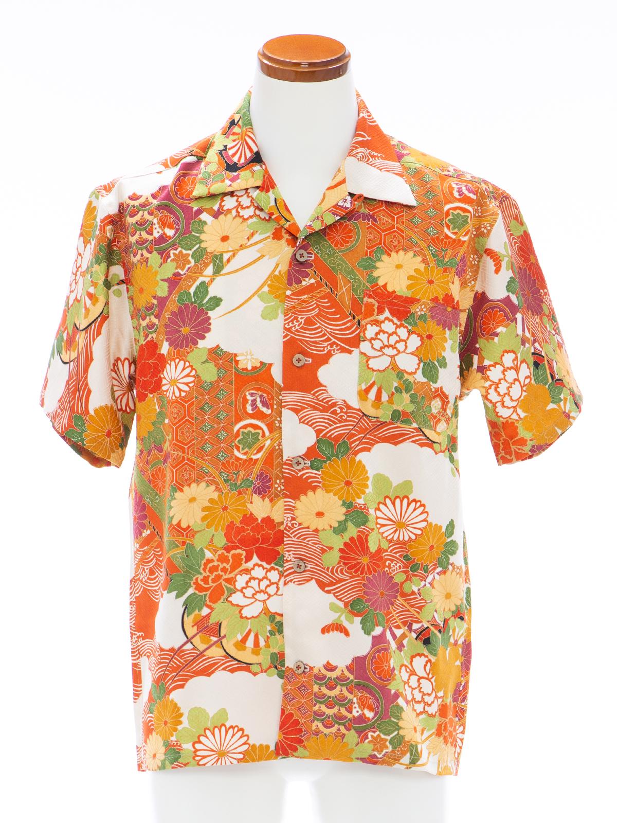 着物アロハシャツ「煌びやかな花古典B」AH100082