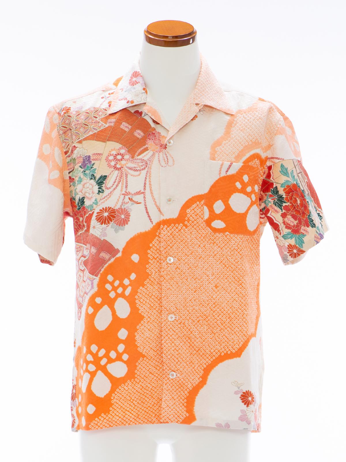 着物アロハシャツ「濃淡な絞りA」AH100083
