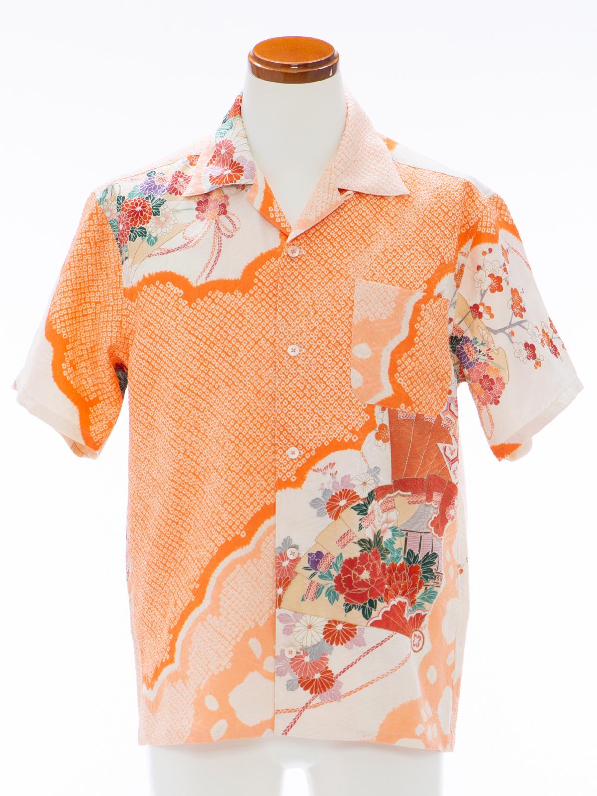 着物アロハシャツ「濃淡な絞りB」AH100084