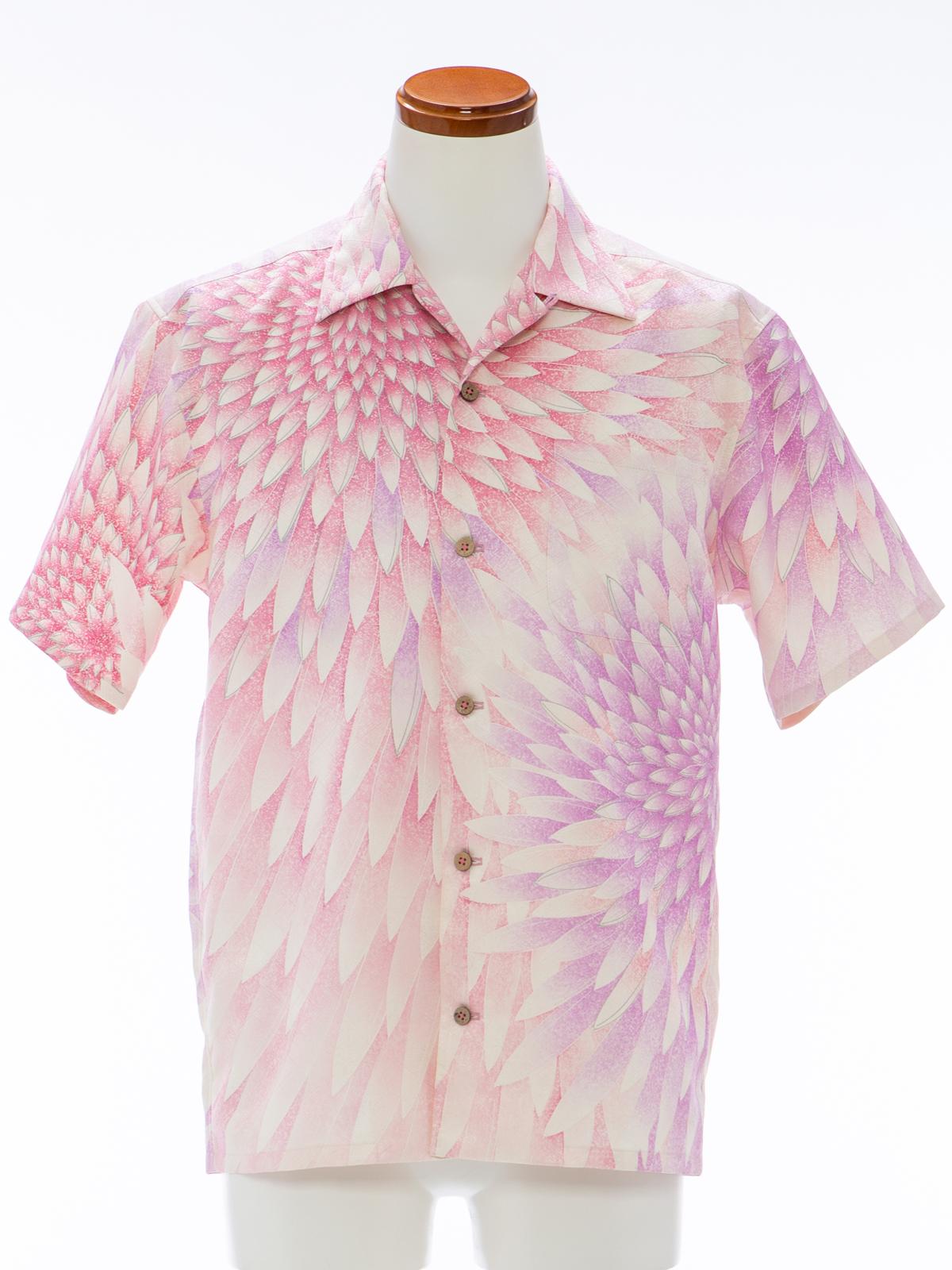 着物アロハシャツ「大輪の花が咲く」AH100085