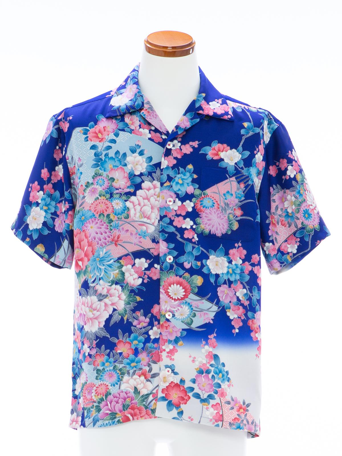 着物アロハシャツ「朝焼けに目覚める花々」AH100087