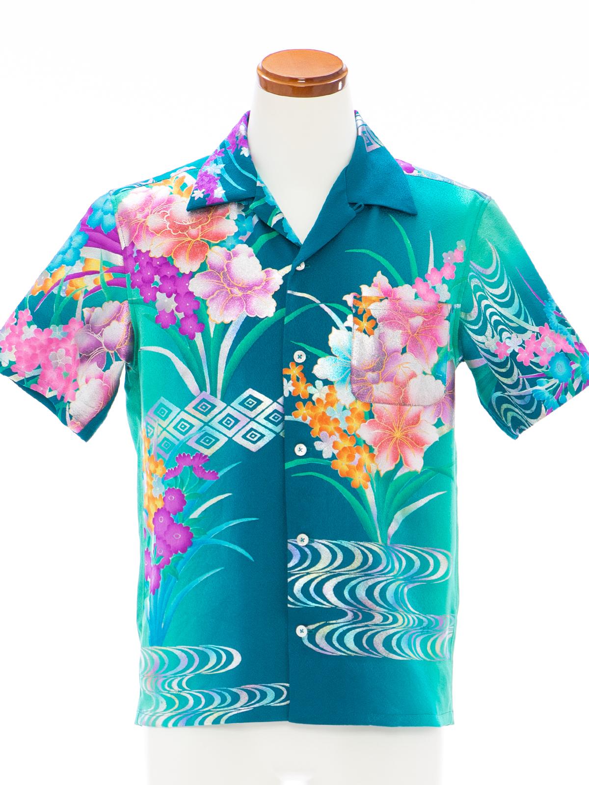 着物アロハシャツ「水辺で輝く花々A」AH100088
