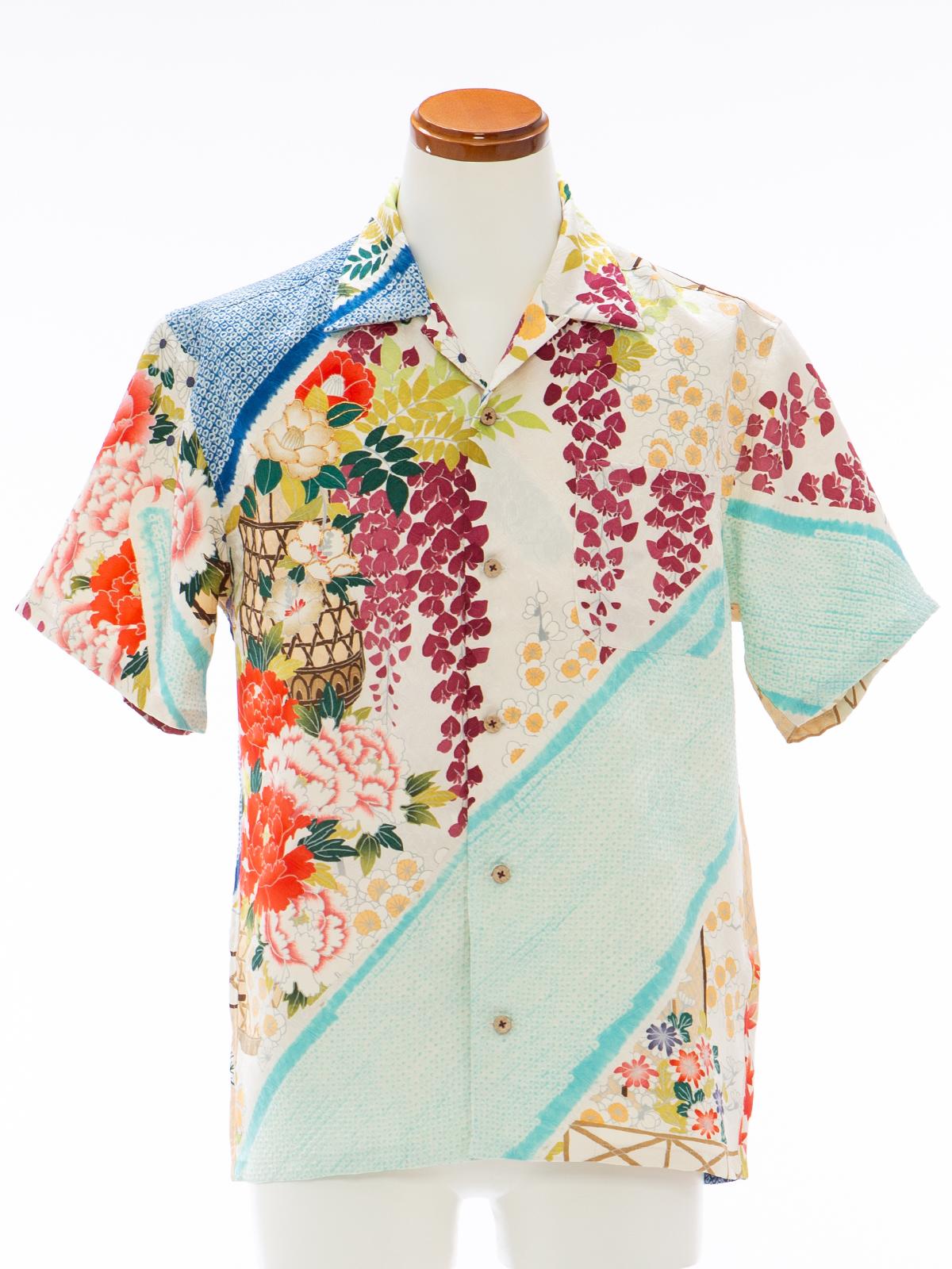 着物アロハシャツ「涼む牡丹と藤」AH100095