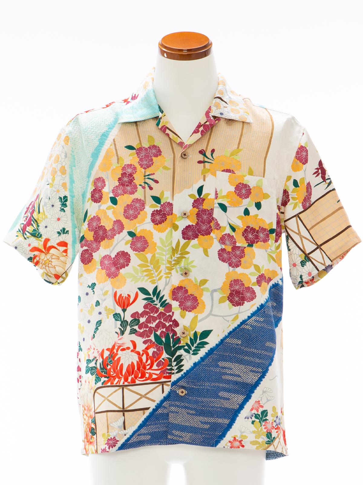 着物アロハシャツ「八重桜と菊の涼み」AH100096
