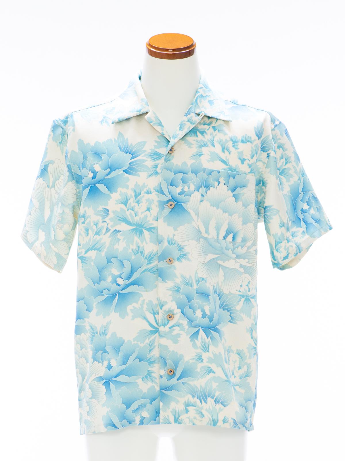 着物アロハシャツ「オーシャンに広がる牡丹」AH100099