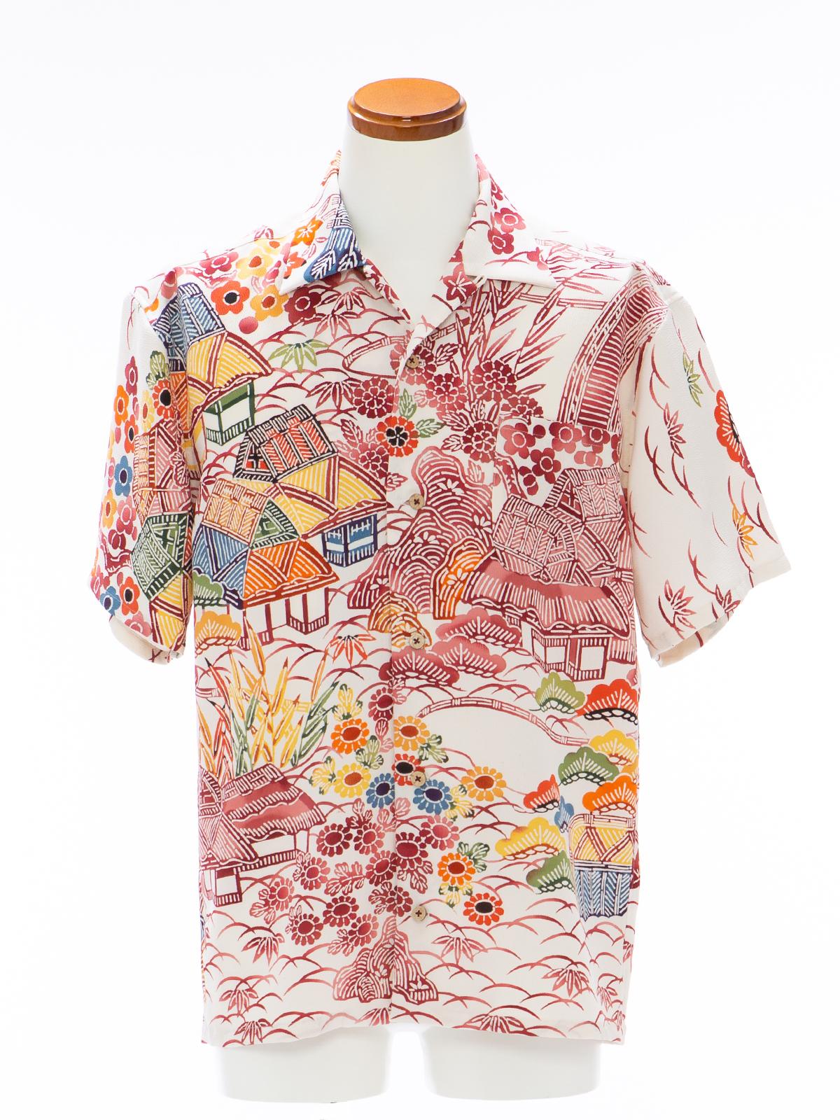 着物アロハシャツ「懐かしの風景B」AH100101