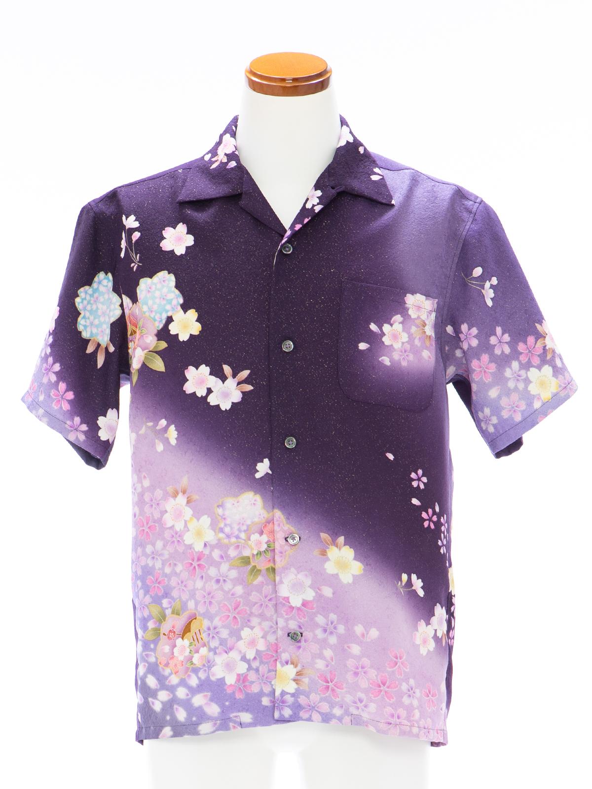 着物アロハシャツ「桜が浮かぶ夜」AH100102