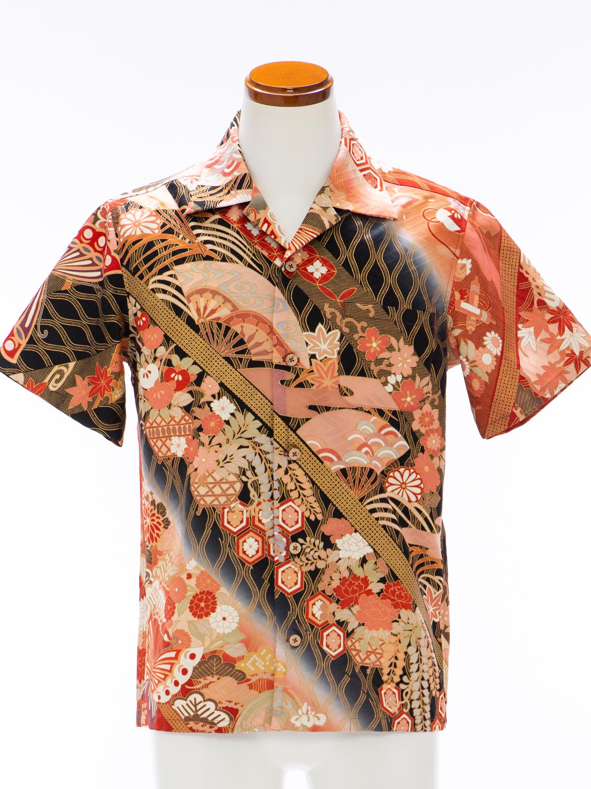 着物アロハシャツ「宝を運ぶ蝶々A」AH100104