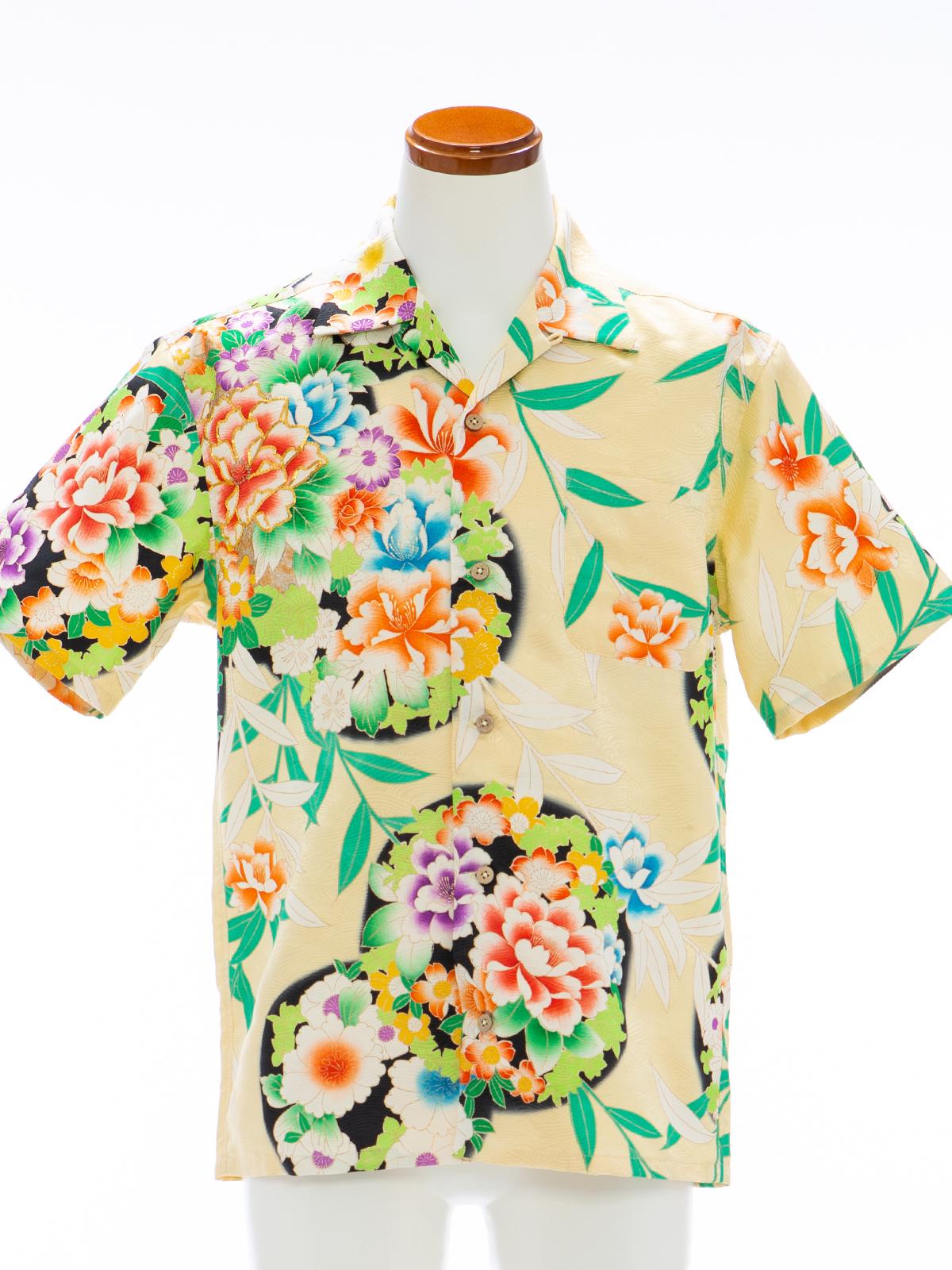 着物アロハシャツ「お花を敷き詰めて」AH100106